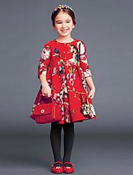 abordables -Robe Fille de Imprimé Coton Polyester Eté ½ Manches