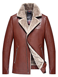 cheap -Men's Club Punk & Gothic Winter Leather Jacket,Solid Shirt Collar Long Sleeve Regular Lamb Fur Lambskin Fur Trim