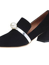 cheap -Women's Shoes Cashmere Fall Comfort Loafers & Slip-Ons Low Heel Round Toe Beading For Casual Blue Black