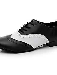 Men's Jazz Nappa Leather Heel Indoor Splicing Black Customizable
