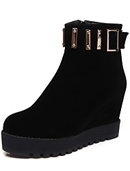 cheap -Women's Shoes Leatherette Winter Fashion Boots / Snow Boots Boots Creepers Round Toe Booties / Ankle Boots Zipper for Dress Black