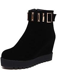 Feminino Sapatos Courino Inverno Botas de Neve Botas da Moda Botas Creepers Ponta Redonda Botas Curtas / Ankle Ziper Para Casual Social