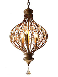 cheap -American Crystal Droplight To Restore Ancient Ways Wrought Iron Dining-Room Lamp Corridor Lamp Contracted Rural Nordic Bedroom Lanterns Garden Lamps