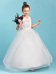 cheap -A-Line Princess Jewel Neck Floor Length Lace Tulle Junior Bridesmaid Dress with Sash / Ribbon by LAN TING BRIDE®