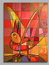cheap -Hand-Painted Animals Vertical, Artistic Active Cartoon Birthday Modern/Contemporary New Year's Christmas Canvas Oil Painting Home
