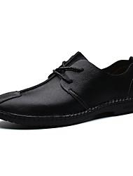 preiswerte -Herren Schuhe Leder Frühling Herbst Komfort Outdoor Schnürsenkel Für Normal Schwarz Dunkelblau Braun