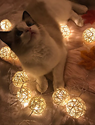 White Rattan Balls LED Lights String 5M x 20 LEDs Beter Gifts® DIY Wedding Party Decoration or Christmas Decor