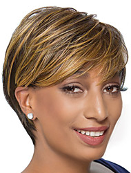 Women Human Hair Capless Wigs Chestnut Brown/Medium Auburn Short Straight Side Part