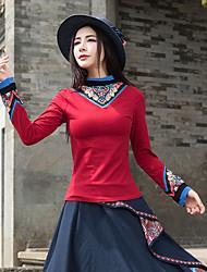 preiswerte -Damen Solide Blumen - Retro Chinoiserie T-shirt, Ständer Baumwolle
