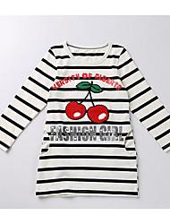 economico -T-shirt Da ragazza Cotone Rigato Autunno Inverno Manica lunga