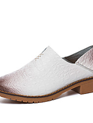 cheap -Women's Shoes Leather / Cowhide Spring / Fall Comfort Loafers & Slip-Ons Walking Shoes Flat Heel Round Toe Black / Brown / Blue