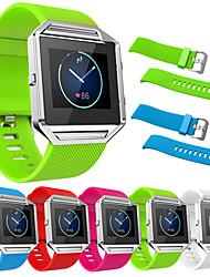 preiswerte -für Fitbit Blaze echte Silikon Uhrenarmbänder für fitbit Blaze Ersatzband meatal Rahmen