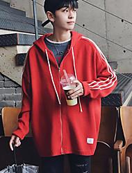 Men's Casual/Daily Regular Cardigan,Color Block Hooded Long Sleeves Others Winter Medium Micro-elastic