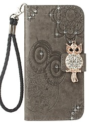 cheap -Case For Huawei P10 Lite Card Holder Wallet Rhinestone with Stand Flip Pattern Embossed Full Body Cases Owl Hard PU Leather for P10 Lite