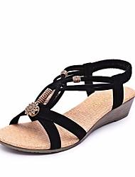 Недорогие -Жен. Обувь Флис Лето Удобная обувь Сандалии На плоской подошве Открытый мыс Черный / Бежевый