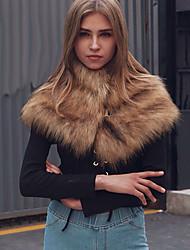 Women's Fur Raccoon Fur Rectangle Infinity Scarf Solid Fall Winter