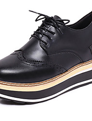 cheap -Women's Shoes PU Spring Comfort Oxfords Flat Heel Round Toe Lace-up for Casual White Black