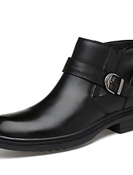 Men's Shoes Real Leather Fall Winter Cowboy / Western Boots Bootie Combat Boots Boots Booties/Ankle Boots For Casual Party & Evening Black