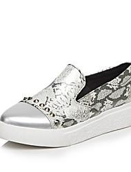 Women's Loafers & Slip-Ons Comfort Spring Fall PU Outdoor Office & Career Rivet Flat Heel Silver Black 1in-1 3/4in