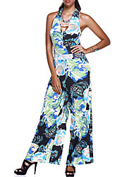 cheap -Women's Going out Club Holiday Vintage Sexy Boho Floral Halter Jumpsuits,Wide Leg Sleeveless Summer Fall Polyster