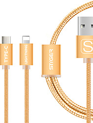 USB 2.0 Connect Cable, USB 2.0 to USB 2.0 Type C Lightning Connect Cable Male - Male 1.0m(3Ft)