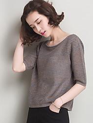 Damen Kurz Pullover-Lässig/Alltäglich Arbeit Einfach Solide Rundhalsausschnitt Kurzarm Seide Frühling Herbst Dünn Mikro-elastisch