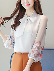 cheap -Women's Daily Going out Casual Winter Shirt,Solid V Neck Long Sleeves Silk