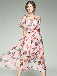 EWUS Women's Going out Casual/Daily Street chic Swing DressFloral Round Neck Midi Short Sleeves Polyester Summer High Rise Inelastic Medium