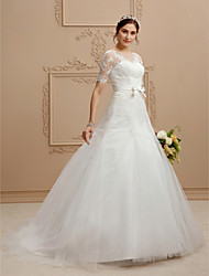 cheap -Princess Jewel Neck Court Train Lace Tulle Wedding Dress with Appliques Bow(s) Sashes/ Ribbons by LAN TING BRIDE®