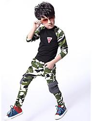 Недорогие -Мальчики Набор одежды Хлопок камуфляж Все сезоны Длинный рукав Военно-зеленный