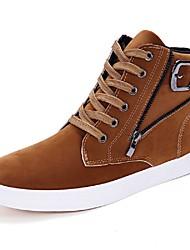 Men's Sneakers Light Soles Fall Winter Suede Casual Zipper Low Heel Brown Dark Blue Black Under 1in