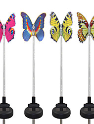 cheap -4PCS Solar Fiber Optic White/Color-Changing Butterfly Garden Stake Light Pathway Walkway Lamp