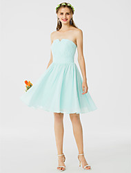 A-Line Princess Notched Knee Length Chiffon Bridesmaid Dress with Draping Ruching by LAN TING BRIDE®