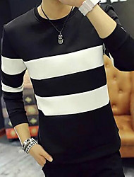 cheap -Men's Daily Sweatshirt Striped Round Neck Inelastic Others Long Sleeve Fall