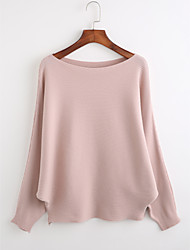 Women's Casual/Daily Simple Long Pullover,Solid Round Neck Long Sleeves Acrylic Fall Winter Medium Micro-elastic