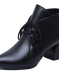 cheap -Women's Shoes PU Fall Winter Basic Pump Boots Chunky Heel Round Toe Lace-up For Office & Career Dress Red Black