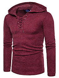 Men's Daily Active Street chic Regular Pullover,Solid Hooded Long Sleeves Cotton Polyester Winter Fall Medium Micro-elastic