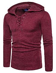 Недорогие -Муж. Активный / Уличный стиль Длинный рукав Пуловер - Однотонный Капюшон