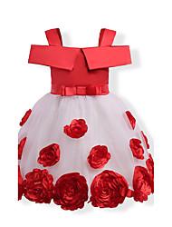 Robe Fille de Anniversaire Sortie Fleur Coton Polyester Eté Sans Manches