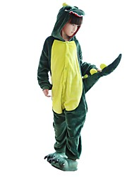 cheap -Kigurumi Pajamas with Slippers Dinosaur Dragon Onesie Pajamas Costume Flannel Fabric Green Pink Cosplay For Children's Animal Sleepwear