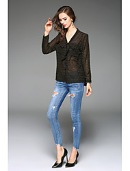 Women's Work Simple Shirt,Print V Neck Long Sleeves Polyester Thin