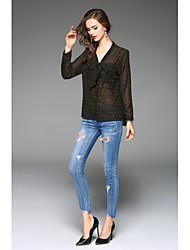 cheap -Women's Work Casual Shirt Bow Print V Neck