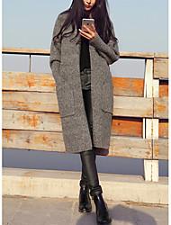 Longue Cardigan Femme Travail Couleur Pleine Col Ras du Cou Manches Longues Polyester Automne Moyen Micro-élastique