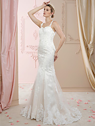 cheap -Mermaid / Trumpet Straps Court Train Lace Tulle Wedding Dress with Beading Buttons by LAN TING BRIDE®