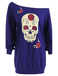 cheap -Women's Daily Plus Size Active Sexy Street chic Spring Fall T-shirt,Print Off Shoulder Long Sleeves Polyester Medium