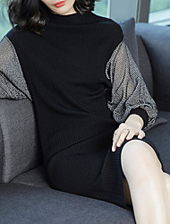 cheap -Women's Daily Plus Size Street chic Sweater Dress,Color Block Round Neck Knee-length Long Sleeves Cotton Spandex Winter Fall Mid Rise