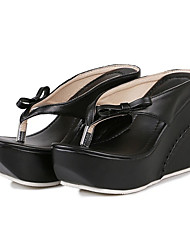 Women's Shoes PU Summer Fall Slingback Comfort Novelty Sandals Wedge Heel Cap-Toe Bowknot For Wedding Party & Evening Blushing Pink Black