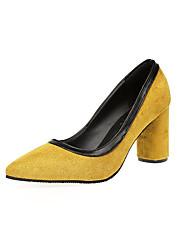 Femme Chaussures Polyuréthane Printemps Eté Confort Chaussons & Tongs Talon Bottier Block Heel Bout rond Pour Décontracté Noir Gris Jaune
