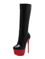 Women's Shoes Leather Spring Fall Winter Basic Pump Comfort Novelty Boots Stiletto Heel Mid-Calf Boots Zipper For Wedding Casual Office &
