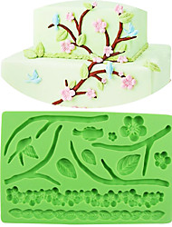 cheap -Silicone Cake Lace Mold Crafts Embossing Mold(Plum Blossom & Leaves)